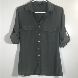 Express Button Down Olive Shirt